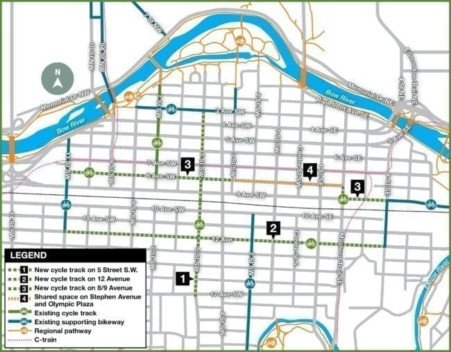 Calgary Bicycle track map