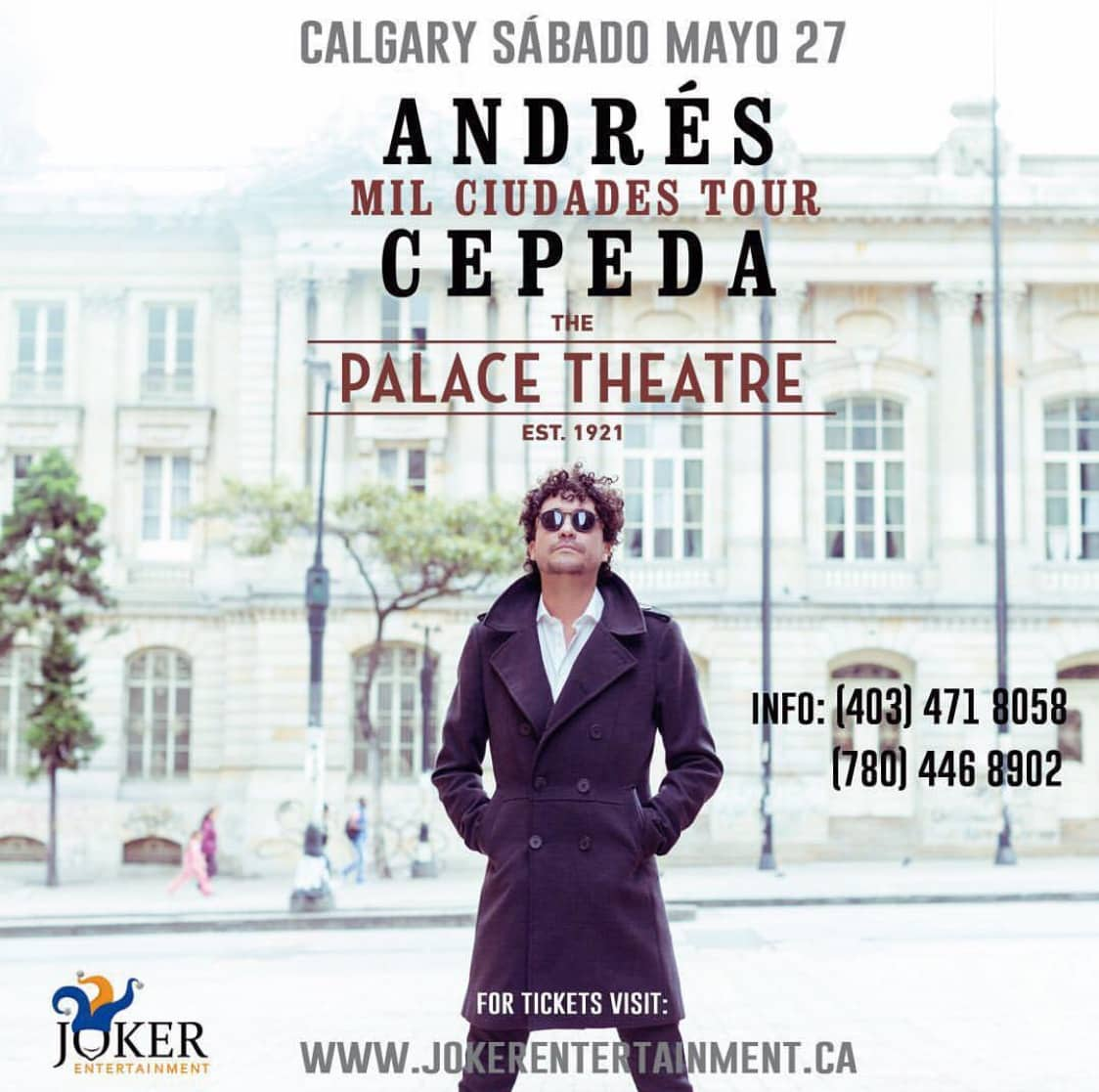 Andrés Cepeda Concert Tickets & Calgary Tour May 27, 2017